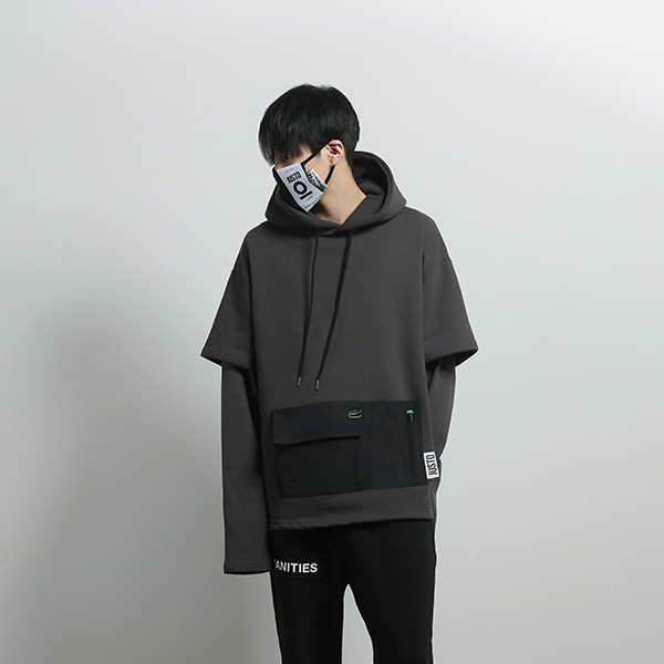 layered pocket hoodie[darkgray]